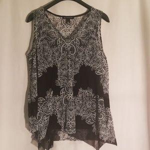 Nwt INC black printed tank top blouse sheer